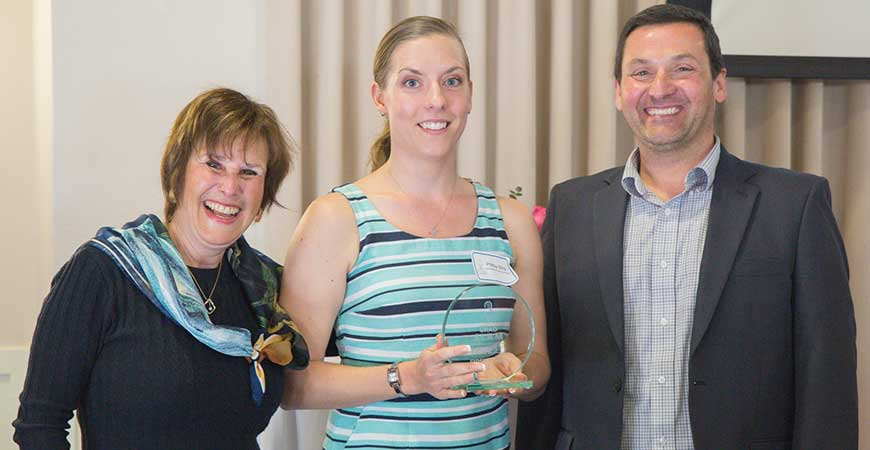 Vice Provost and Graduate Dean Marjorie Zatz, Portia Mira and Associate Dean Chris Kello